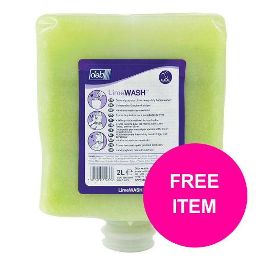 DEB Limewash Hand Soap Refill Cartridge 2 Litre Ref N03831&FOC Disp [Free Dispenser]