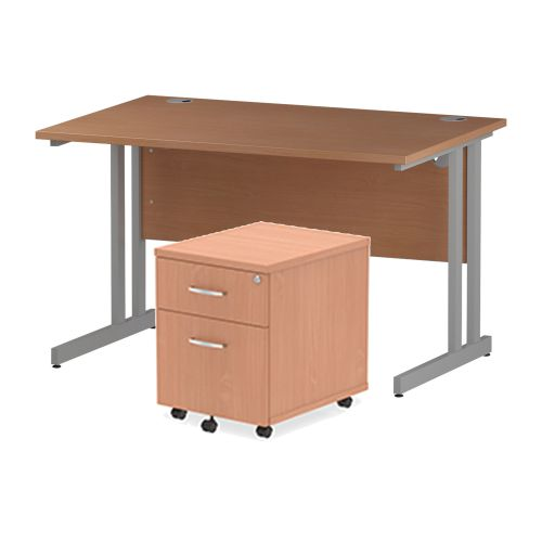 Trexus Cantilever Desk 1200x800 & 2 Drawer Pedestal Beech [Bundle Offer] Feb-Apr 2020