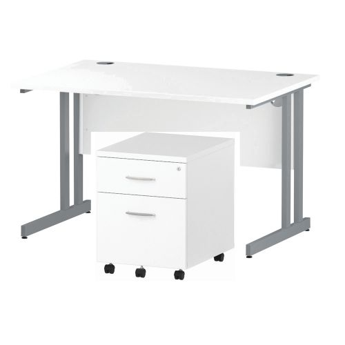 Trexus Cantilever Desk 1200x800 & 2 Drawer Pedestal White [Bundle Offer] Feb-Apr 2020