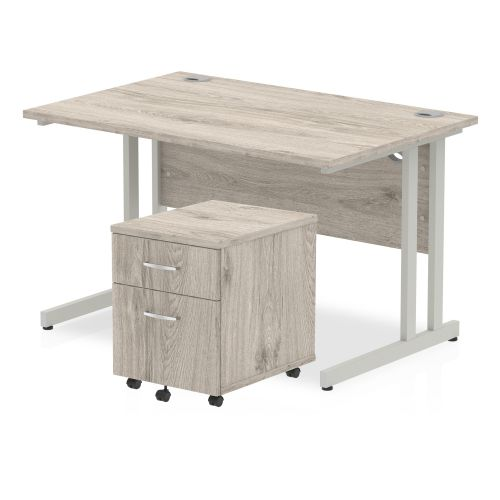 Trexus Cantilever Desk 1200x800 & 2 Drawer Pedestal Grey Oak [Bundle Offer] Feb-Apr 2020