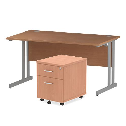 Trexus Cantilever Desk 1400x800 & 2 Drawer Pedestal Beech [Bundle Offer] Feb-Apr 2020