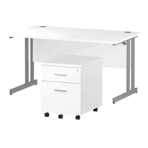 Trexus Cantilever Desk 1400x800 & 2 Drawer Pedestal White [Bundle Offer] Feb-Apr 2020
