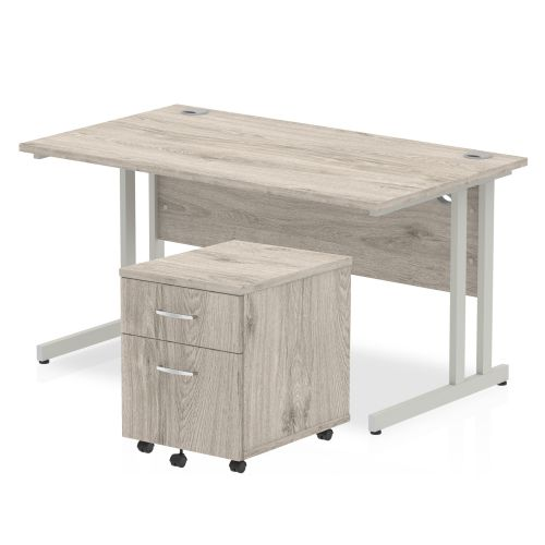 Trexus Cantilever Desk 1400x800 & 2 Drawer Pedestal Grey Oak [Bundle Offer] Feb-Apr 2020