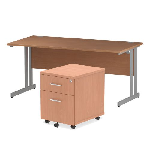 Trexus Cantilever Desk 1600x800 & 2 Drawer Pedestal Beech [Bundle Offer] Feb-Apr 2020