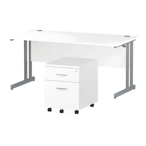 Trexus Cantilever Desk 1600x800 & 2 Drawer Pedestal White [Bundle Offer] Feb-Apr 2020