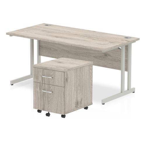 Trexus Cantilever Desk 1600x800 & 2 Drawer Pedestal Grey Oak [Bundle Offer] Feb-Apr 2020