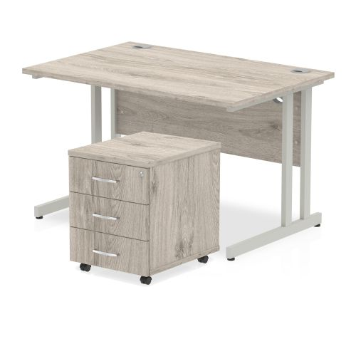 Trexus Cantilever Desk 1200x800 & 3 Drawer Pedestal Grey Oak [Bundle Offer] Feb-Apr 2020