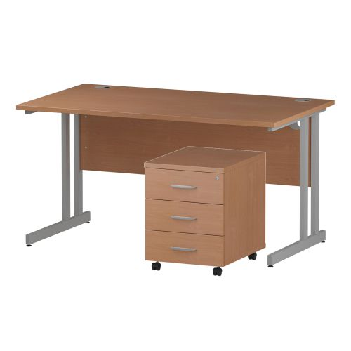 Trexus Cantilever Desk 1400x800 & 3 Drawer Pedestal Beech [Bundle Offer] Feb-Apr 2020