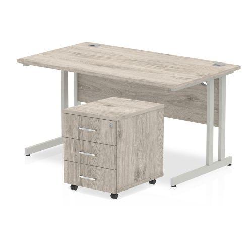 Trexus Cantilever Desk 1400x800 & 3 Drawer Pedestal Grey Oak [Bundle Offer] Feb-Apr 2020