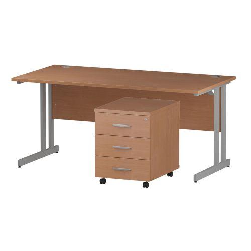 Trexus Cantilever Desk 1600x800 & 3 Drawer Pedestal Beech [Bundle Offer] Feb-Apr 2020