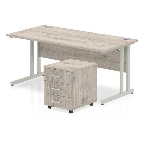 Trexus Cantilever Desk 1600x800 & 3 Drawer Pedestal Grey Oak [Bundle Offer] Feb-Apr 2020