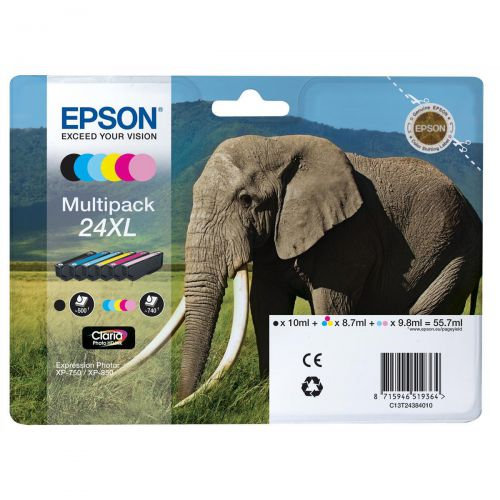 Epson 24XL Inkjet Cartridge Elephant HY B/C/M/Y/LC/LM 55.7ml Ref C13T24384012 [Pack 6]