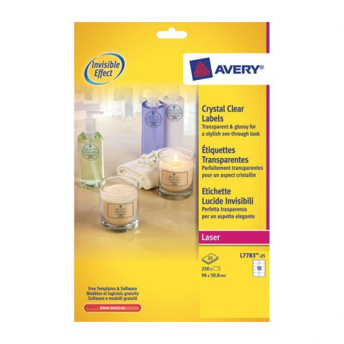 avery crystal clear label 10 per sheet 96x50 8mm ref l7783 25 250