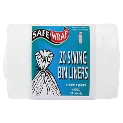 Safewrap Swing Bin Liners 50 Litre Capacity 20 Sacks per Roll 1220x762mm White Ref RY00441 [4 Rolls]