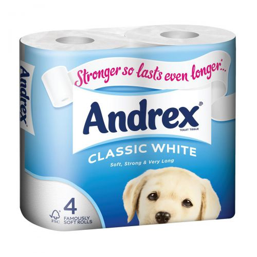Andrex Toilet Rolls Classic Clean 2-ply 124x104mm 200 sheets White Ref 1102040 [Pack 4]