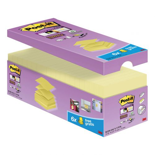 Post-it 2028-S Super Sticky Note Cube Pad of 350 Sheets 76x76mm Yellow Ref 2028-S