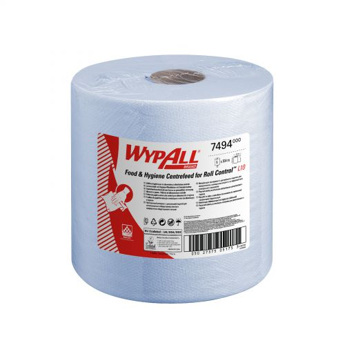 WypAll L10 Centrefeed Hand Towel Roll Single Ply 380x185mm 630 Sheets per Roll Blue Ref 7494 [Pack 6]