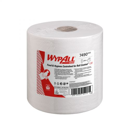 WypAll L10 Centrefeed Hand Towel Roll Single Ply 380x185mm 630 Sheets per Roll White Ref 7490 [Pack 6]