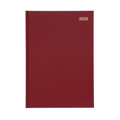 5 Star Office 2020 Diary Week to View Casebound and Sewn Vinyl Coated Board A4 297x210mm Red