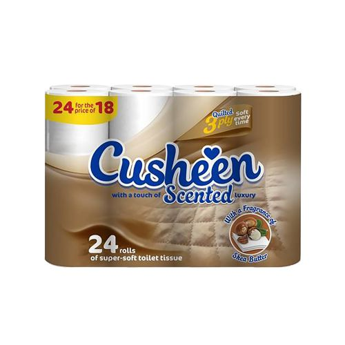 Cusheen Scented Luxury Super Soft Toilet Rolls 3-Ply White Ref 1102030 [Pack 24]