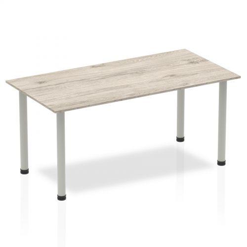Sonix Square Silver Post Leg Table 1600x800mm Grey Oak Ref