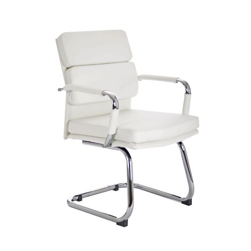 Adroit Advocate Visitor Chair With Arms Bonded Leather White Ref BR000207