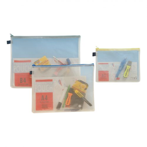 Zip Bag Reinforced Mesh-weave PVC Clear with Coloured Seal A5 Yellow [Pack 5]