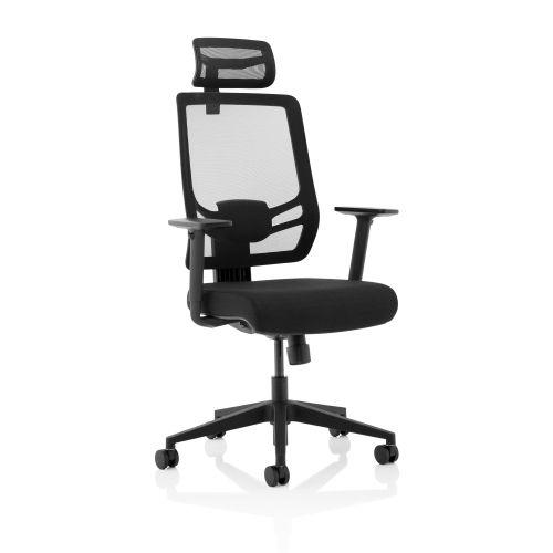 Trexus Ergo Twist Fabric Seat Mesh Back Headrest Black Ref KC0298