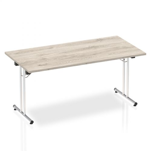 Sonix Rectangular Chrome Leg Folding Meeting Table 1600x800mm Grey Oak Ref