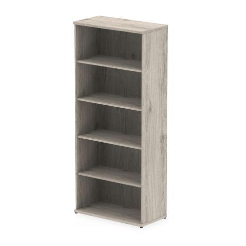 Trexus Office Very High Bookcase 800x400x2000mm 4 Shelves Grey Oak Ref I003230