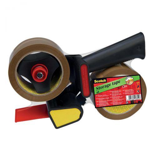 Scotch Tape Dispenser Kit Contains 1xDispenser & 2xRolls 50mmx60m Buff Packaging Tape Ref LN5066R21