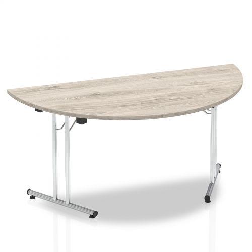 Sonix Semi-circular Chrome Leg Folding Meeting Table 1600x800mm Grey Oak Ref