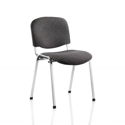 Trexus Stacking Chair Chrome Frame Charcoal 470x420x500mm Ref BR000069