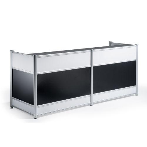 Trexus Reception Desk 2485x1030x25mm High Gloss Black Ref I000737
