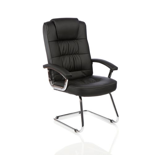Trexus Moore Deluxe Visitor Cantilever Chair With Arms Leather Black Ref KC0152