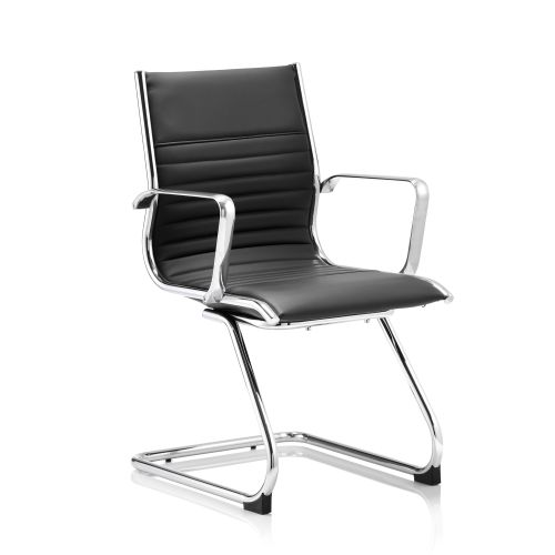 Sonix Ritz Cantilever Chair With Arms Bonded Leather Black Ref BR000123