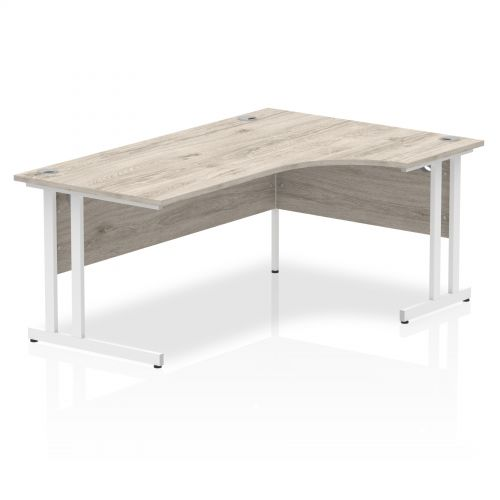 Trexus Radial Desk Right Hand White Cantilever Leg 1800mm Grey Oak Ref I003529