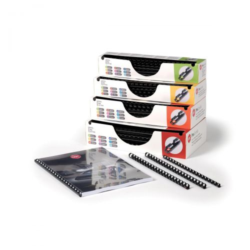 GBC Pro Binding Combs Plastic 10mm for 60 Sheets of A4 Black Ref 4400323 [Pack 100]