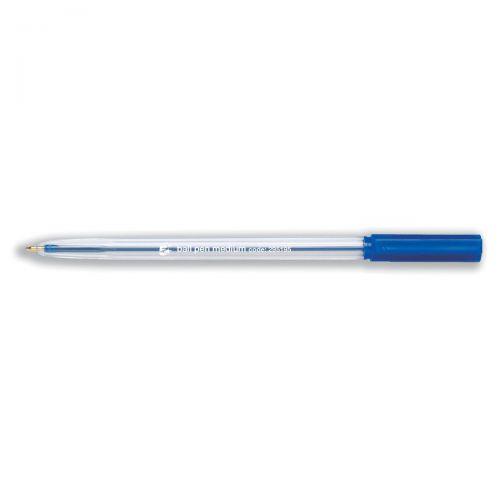 5 Star Office Ball Pen Clear Barrel Medium 1.0mm Tip 0.7mm Line Blue [Pack 50]