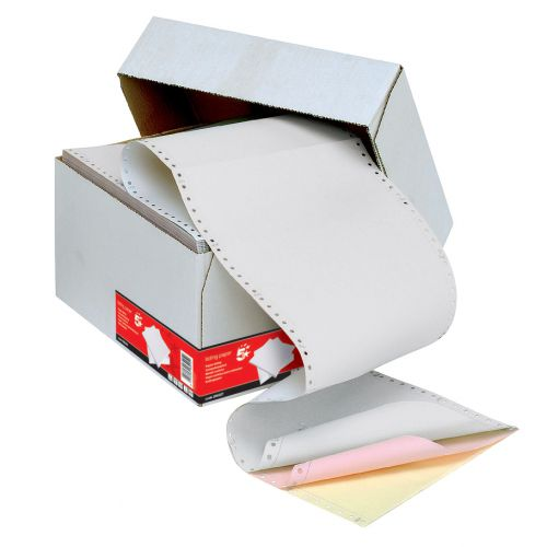 5 Star Office Listing Paper 3-Part Carbonless Microperf 80/58/57gsm A4 White/Pink/Yellow [700 Sheets]
