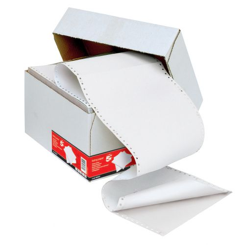 5 Star Office Listing Paper 2-Part Carbonless Perf 55gsm 11inchx241mm Plain White/White [1000 Sheets]