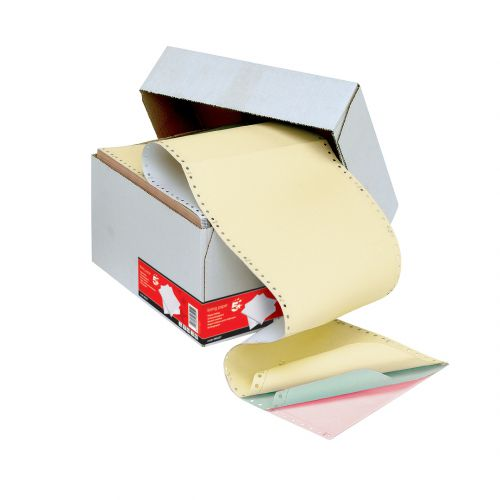 Listing Paper 4-Part NCR Micro Perf 112/3 inch x 235mm (A4) Plain White/Pink/Green/Yellow[500]