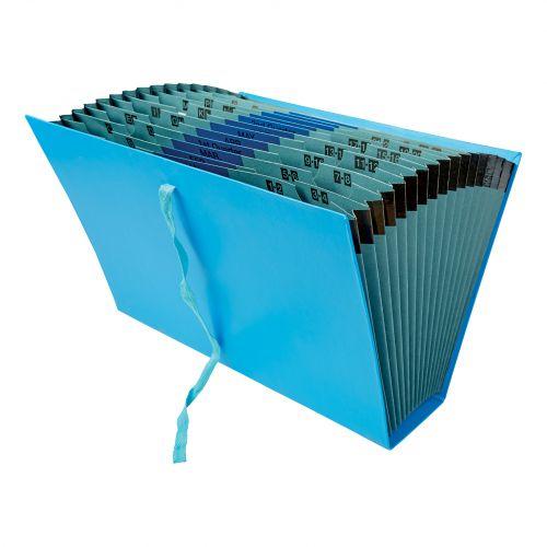 5 Star Office Expanding File 16 Pockets 1-31 A-Z Jan-Dec Cloth Tie Fastening Foolscap Blue