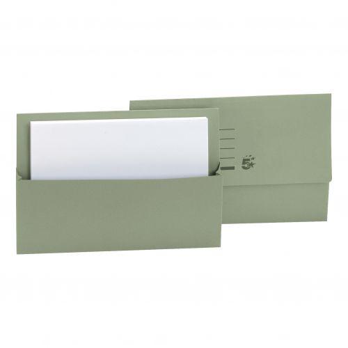 5 Star Document Wallet Fcap 250gm Green