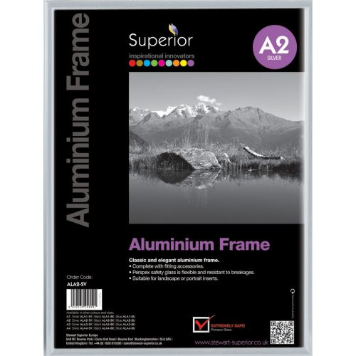 Photo Frame Clip Down Aluminium With Non Glass Perspex Front Back