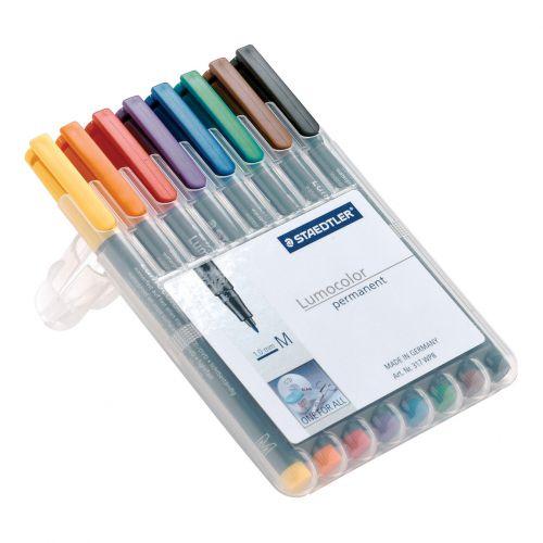 Staedtler 318 Lumocolor Pen Permanent Fine 0.6mm Red Ref 318-2 Pack 10