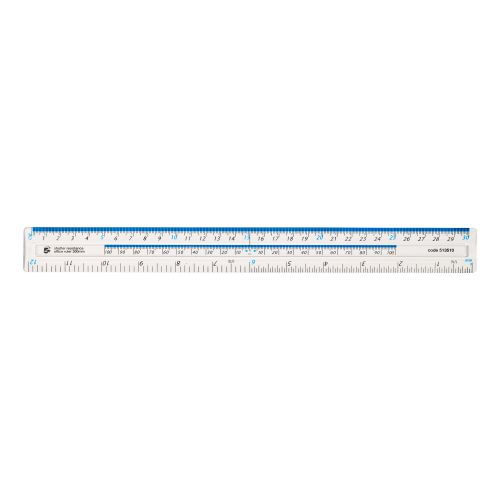 5 Star Office Ruler Plastic Shatter-resistant Metric and Imperial Markings 300mm Clear