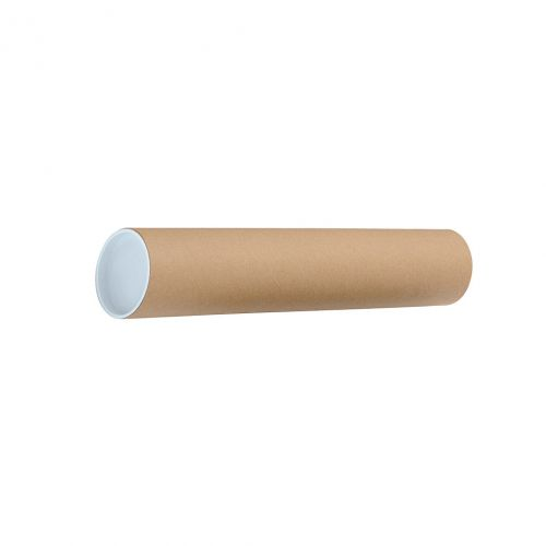 Postal Tube Cardboard with Plastic End Caps L450xDia.76mm RBL10522 [Pack 12]