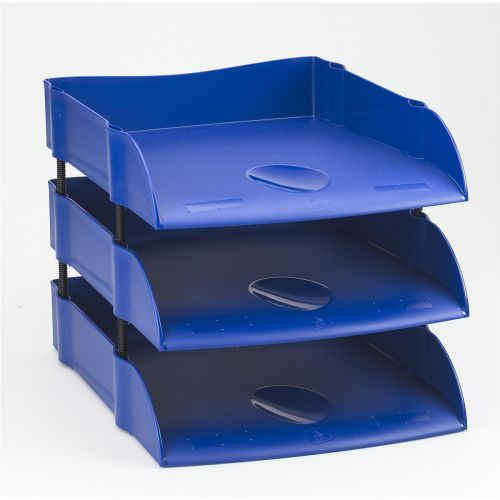 avery dtr letter tray self stacking w270xd360xh60mm blue ref dr100blu