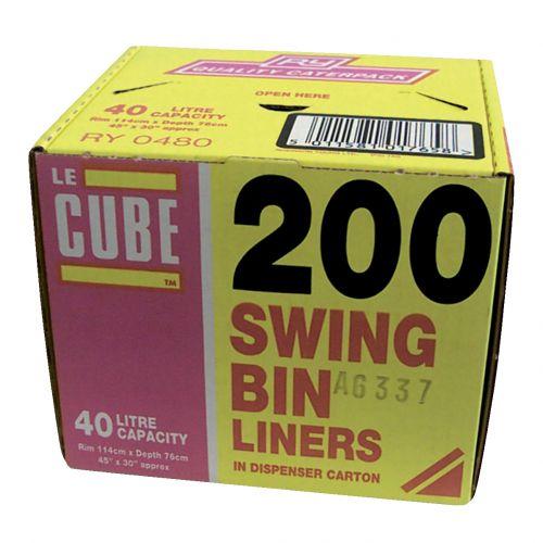 Le Cube Swing Bin Liners in Dispenser Box 46 Litre Capacity 1140x570mm Ref 480 [Pack 200]